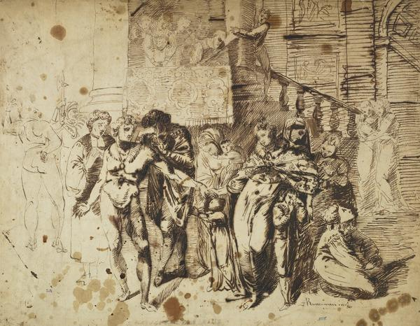 Study for the Painting 'The Parting of Lord William Russell and his Wife'