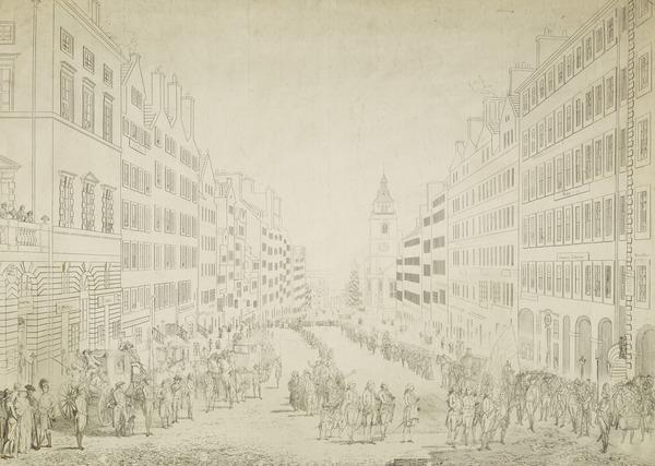 View of the High Street with a Military Procession