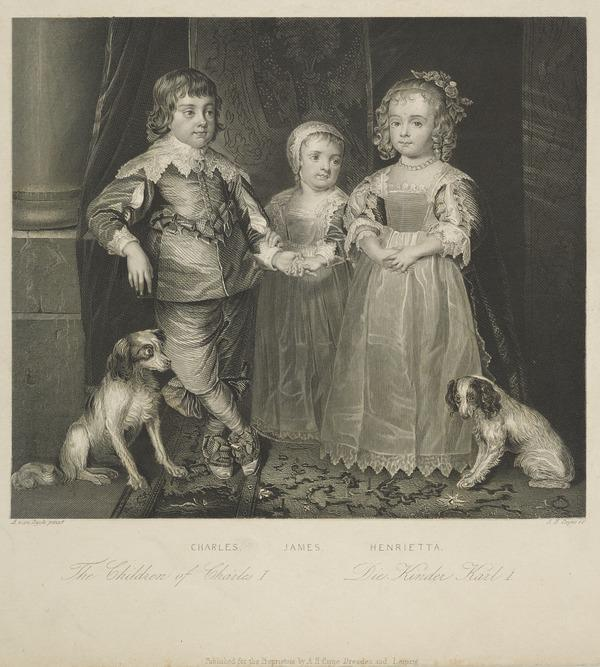 Charles II, 1630 - 1685. King of Scots 1649 - 1685, King of England and Ireland 1660 - 1685 (with James, Duke of York and Princess Henrietta)