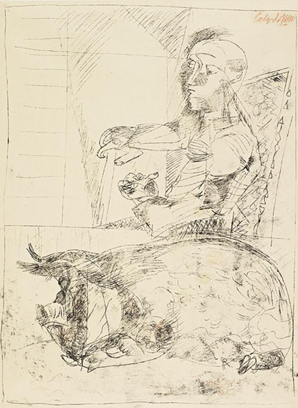 Man and Pig (Dated 1952)