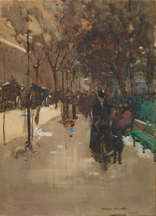 A Street Scene in Paris, a Wet Sunday Afternoon (1889)
