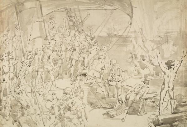 Drake on the Quarter Deck Watching the Destruction of the Spanish Armada. Study for the competition cartoon, 1841 (1841)