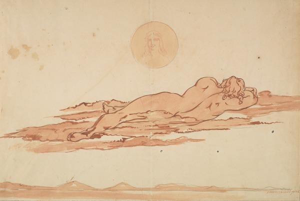 A Dream. A Nude Figure Seen from Behind Lying on the Ground