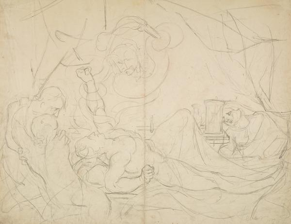 'Fever'. A Man in Agony on a Sickbed, with Three Attendant Figures [Verso: Sketch of Figures] (Dated 1829)
