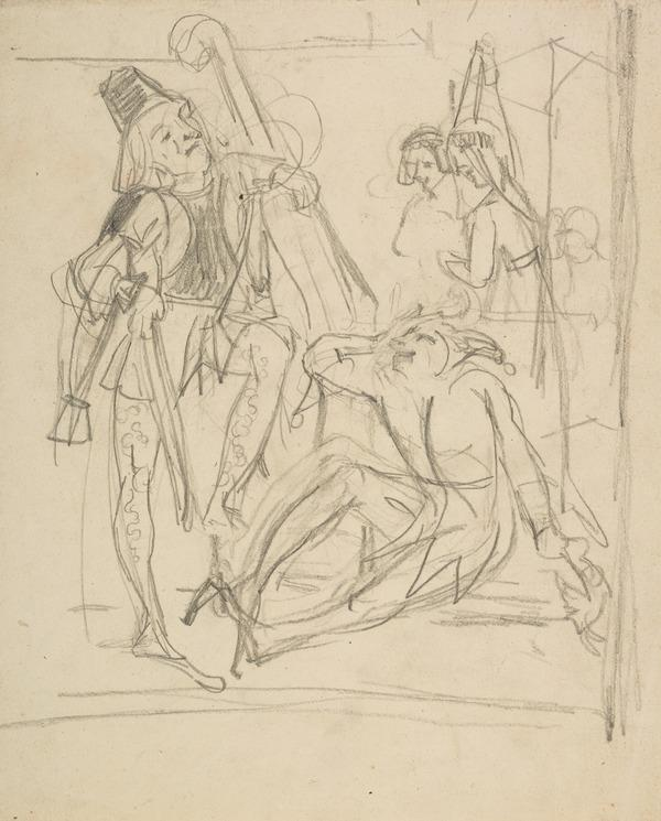 Jester and Musician. Study for the Painting 'Queen Elizabeth Viewing the Performance of The Merry Wives of Windsor in the Globe Theatre ...' ... (About 1841)