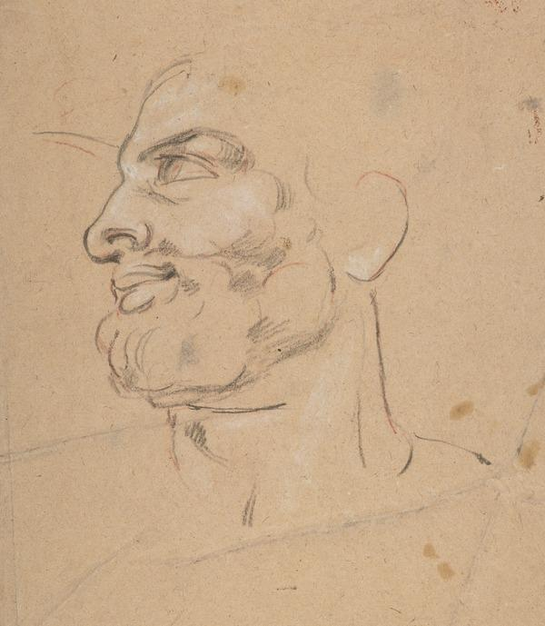 Study of the Head of Anacreon for the Painting 'Sappho and Anacreon' (Rome, 1833)