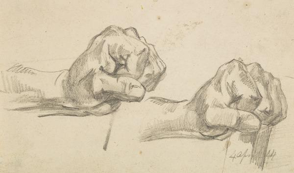 Two Sketches of a Left Hand Making a Fist (Dated 4 April 1844)