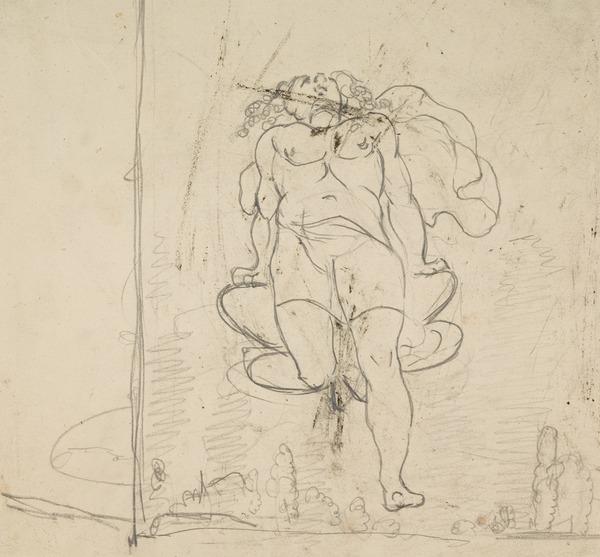 Female Figure Floating in Mid-Air, Head Thrown Back [Verso: Sketch of Figures]