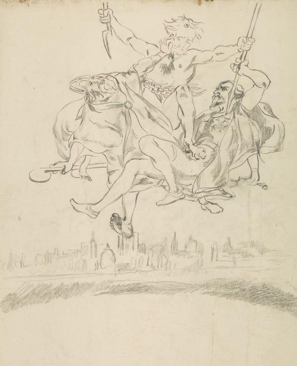 Satan in Mid-Air with Bishops and Knight - In Lower Background, a Town