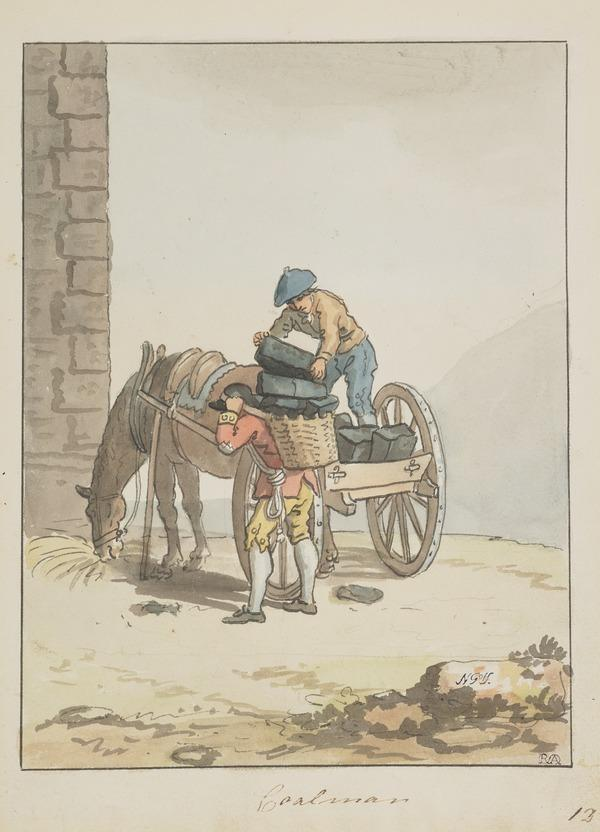 An Edinburgh Coalman with his Boy and Cart (About 1785)