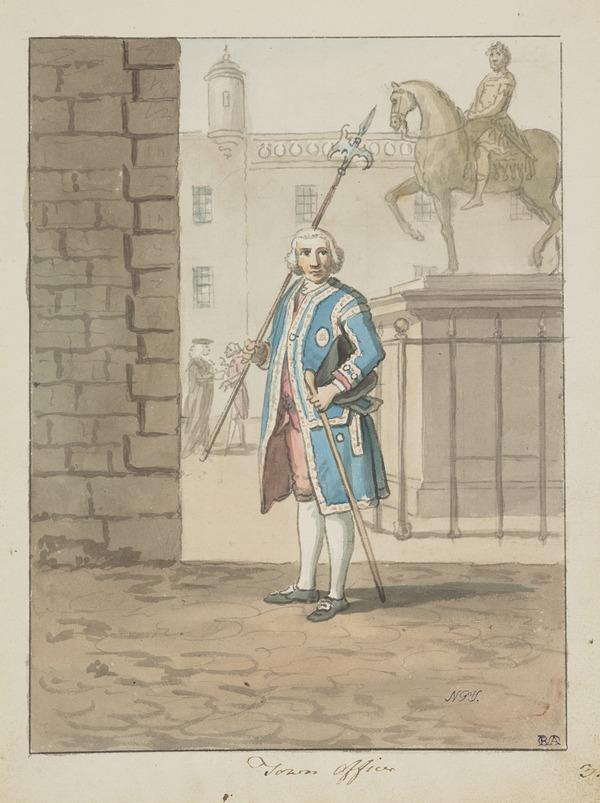 An Officer of the City Guard in Parliament Square, Edinburgh (About 1785)