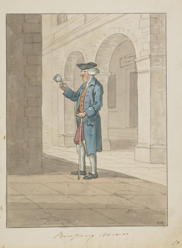 A Rouping Bellman in Parliament Square, Edinburgh (About 1785)