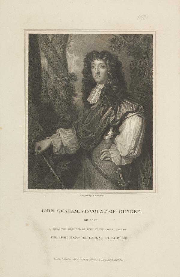 John Graham of Claverhouse, Viscount Dundee, c 1649 - 1689. Jacobite leader (1834)