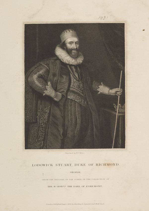 Ludovic Stuart, 2nd Duke of Lennox, 1574 - 1624. Statesman (Published 1833)