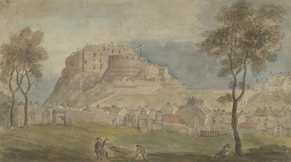 Edinburgh Castle from Greyfriars Churchyard (Dated 1782)