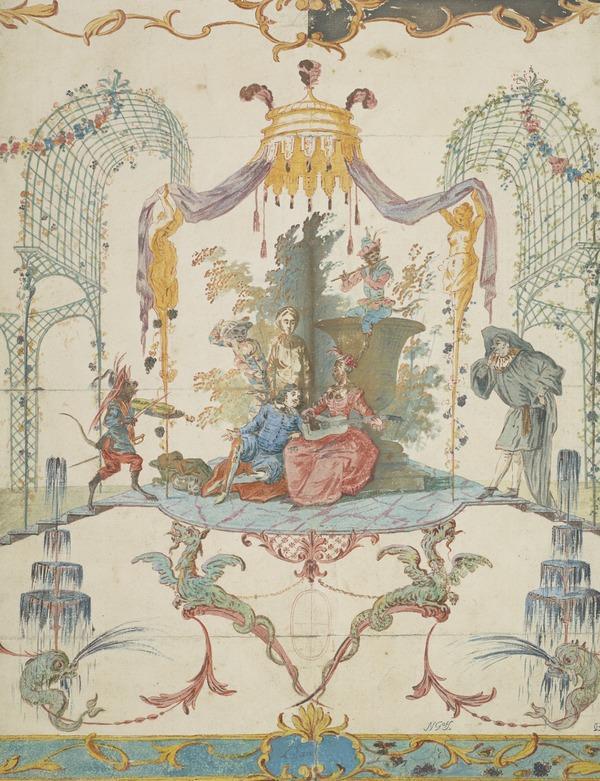 Ornamental Design: 'L'Eau', with Watteau Figures
