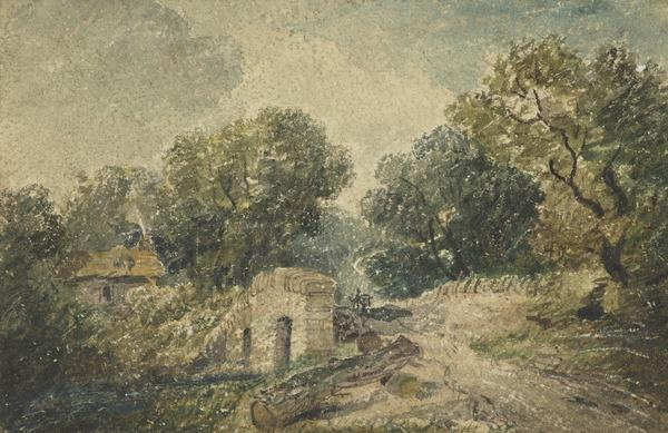 Woodland Landscape with Bridge and Cottage [Verso: River Landscape with Wood and a Large House]