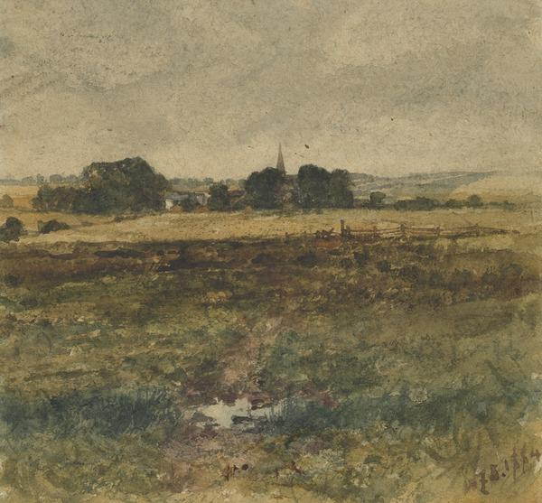 Landscape with a Distant Church Spire (Dated 1884)