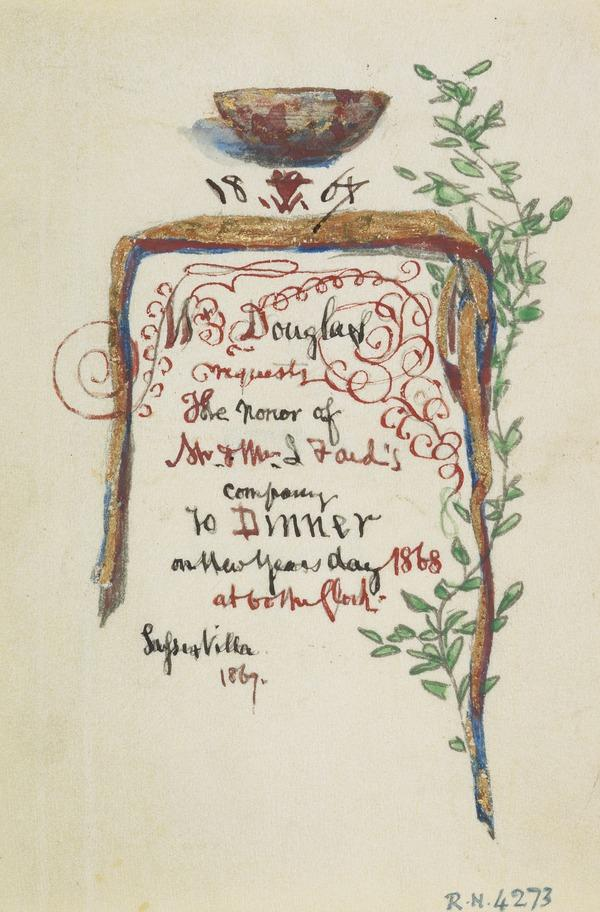 Sketch for an Invitation Card for a New Year's Dinner (Dated 1867)
