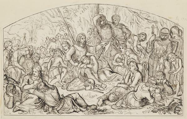 An Encampment of Christian Knights. Study for the Painting 'The Bruce and his Adherents after his Defeat at Mathien: Sketch'