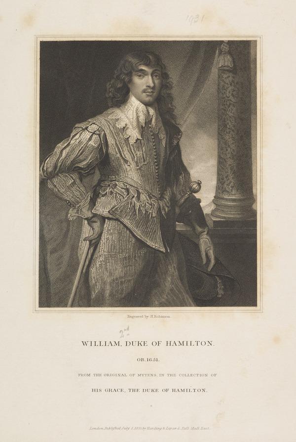 William Hamilton, 2nd Duke of Hamilton, 1616 - 1651. Soldier (Published 1833)