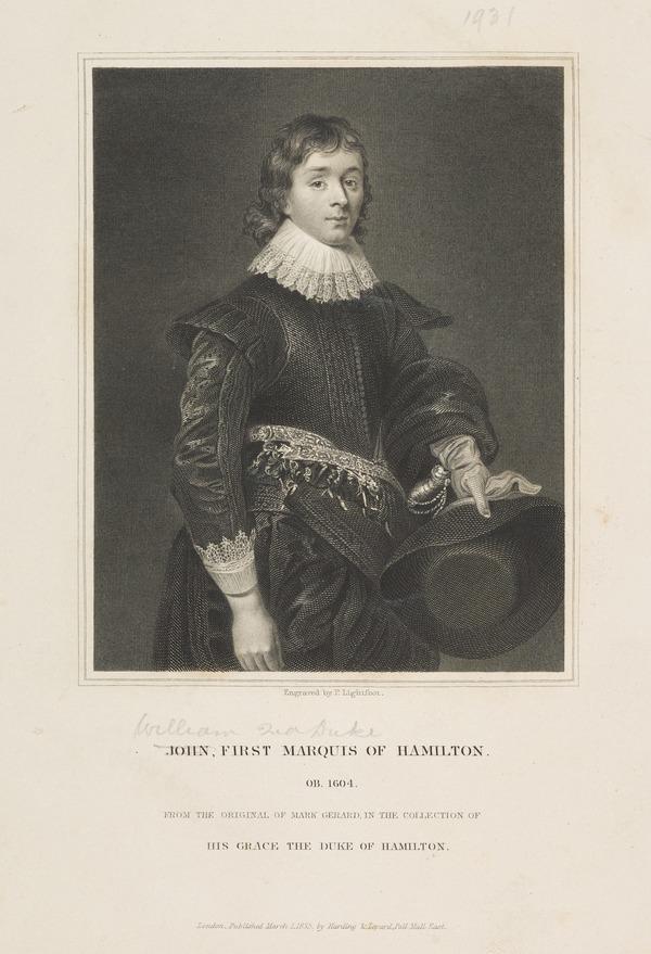 William Hamilton, 2nd Duke of Hamilton, 1616 - 1651. Soldier (Published 1831)