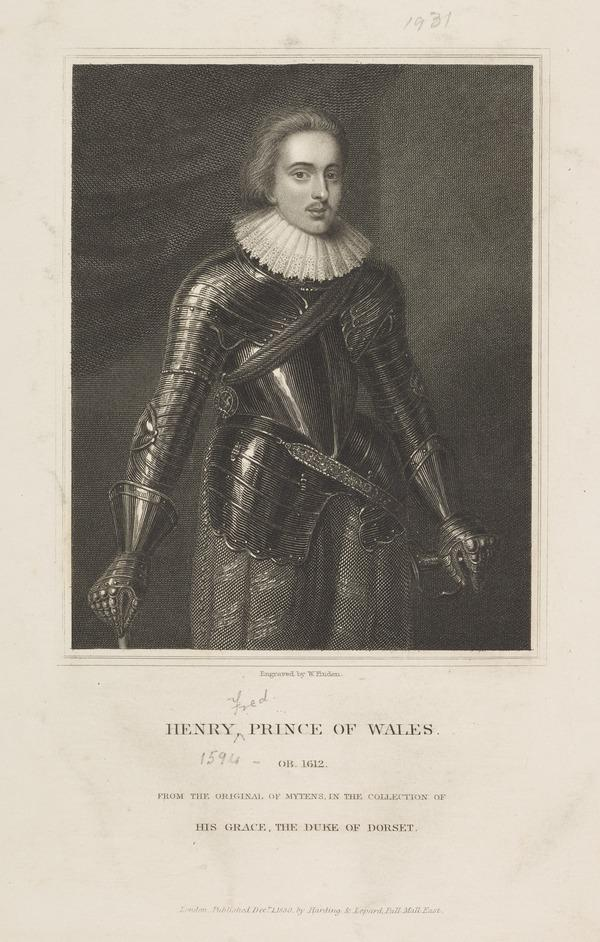 Henry, Prince of Wales, 1594 - 1612. Eldest son of James VI and I (Published 1830)