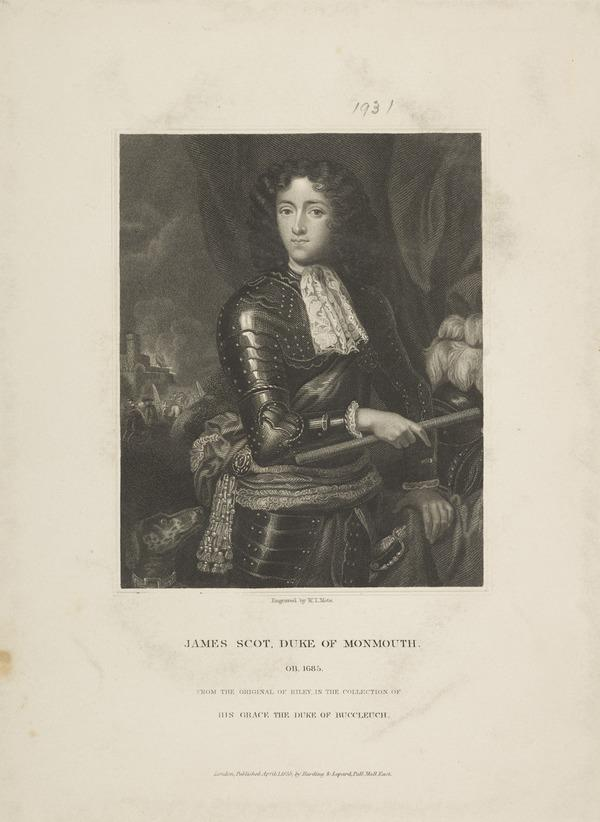 James Scott, Duke of Monmouth and Buccleuch, 1649 - 1685. Natural son of Charles II by Lucy Walter (Published 1835)