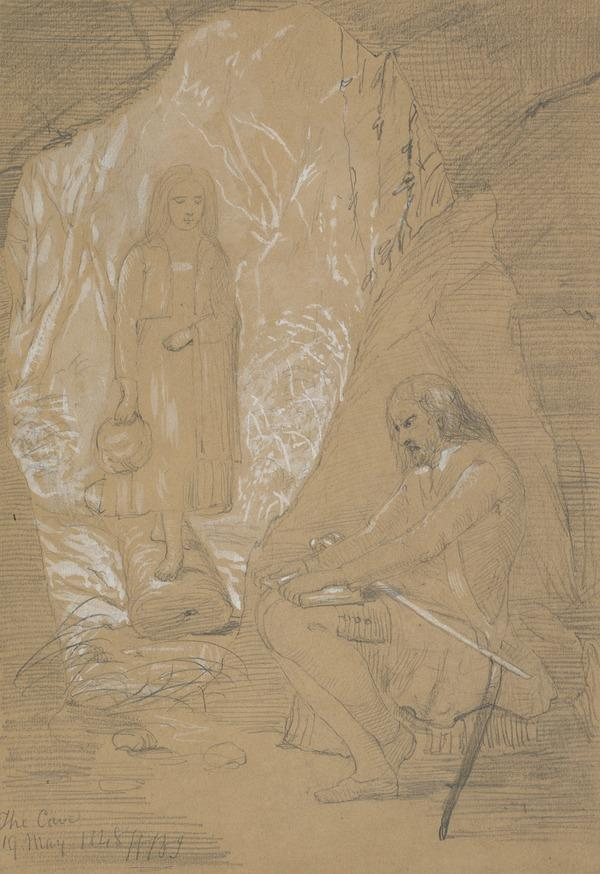 A Girl Approaching a Man in a Cave (Dated May 19, 1848)
