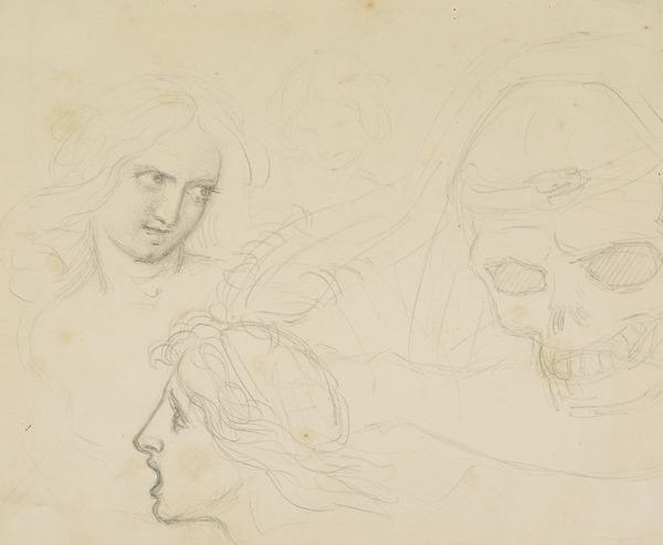Three Heads and a Skull. Study Relating to the Drawing 'The Pursuit of Pleasure'