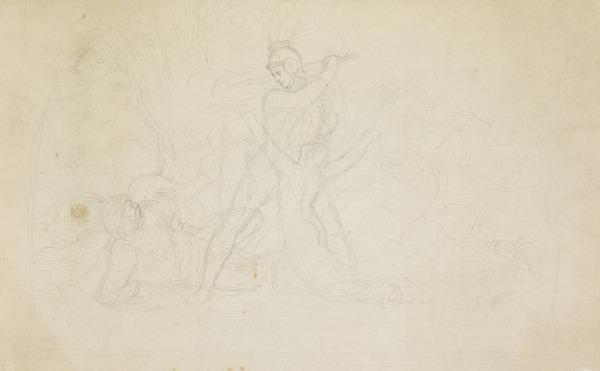 A Woman Imploring a Soldier's Mercy [Verso: Study for a Deposition from the Cross and other pencil sketches]