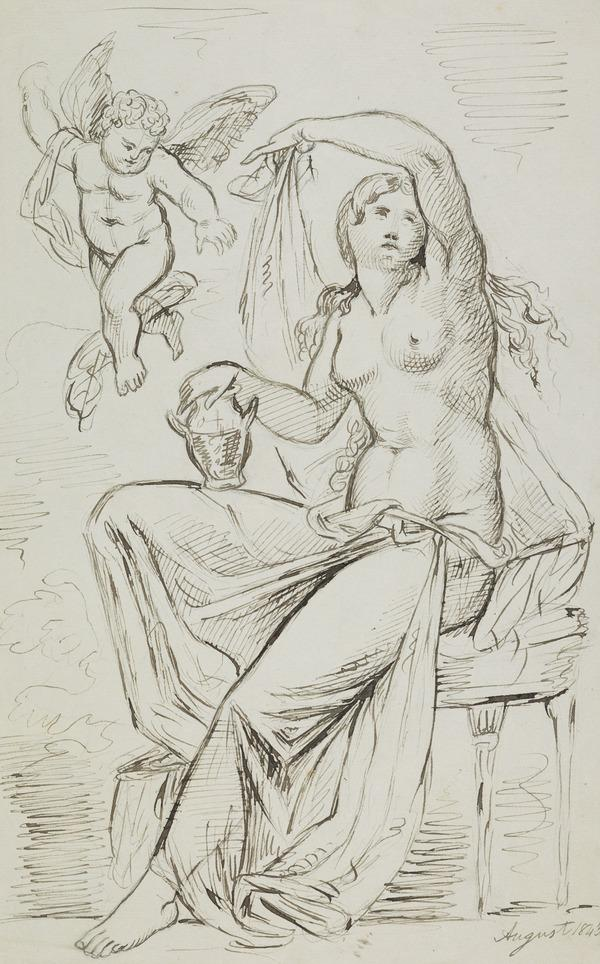 A Female Figure with a Putto (Dated August 1843)