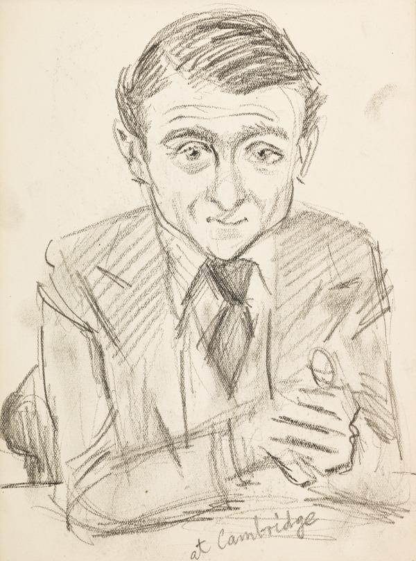 """Portrait of a man in suit, inscribed """"at Cambridge"""" (Executed early / mid 1930s)"""