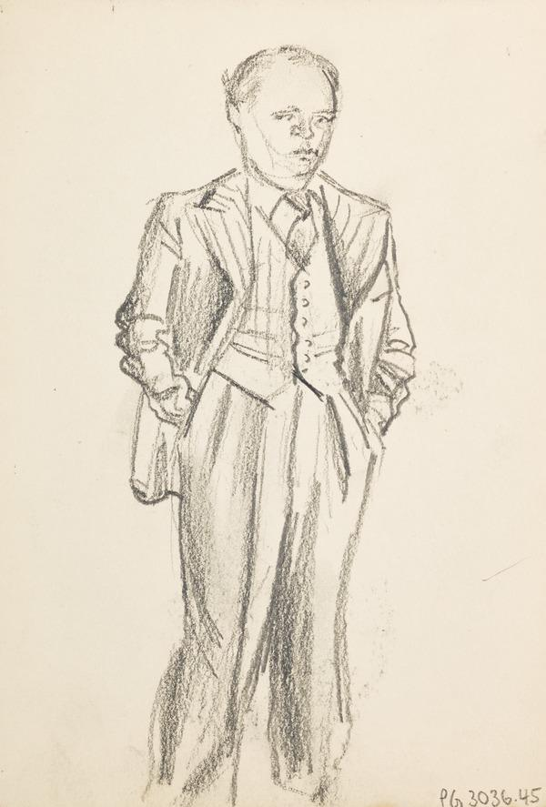 Sketch of a man in suit, hands in pockets (Executed early / mid 1930s)