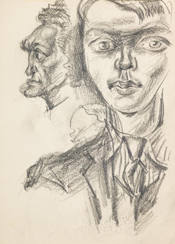 Three sketches: One man in profile, a man from the front and a head (Executed early / mid 1930s)