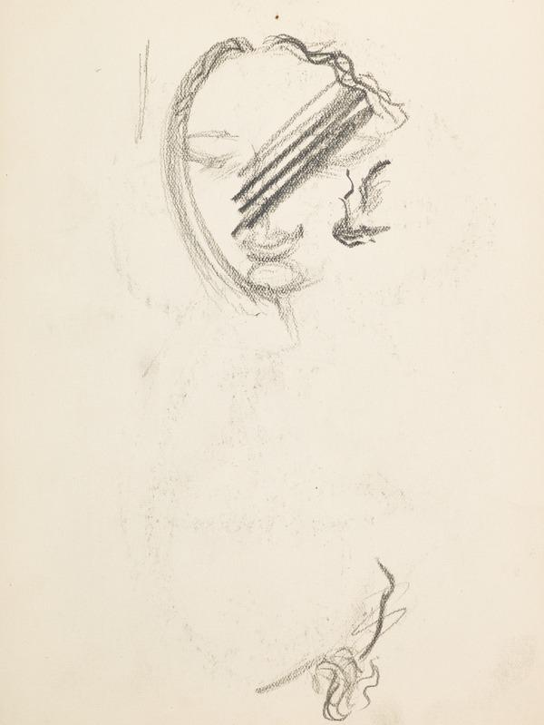Sketch of female face, scored out (Executed early / mid 1930s)