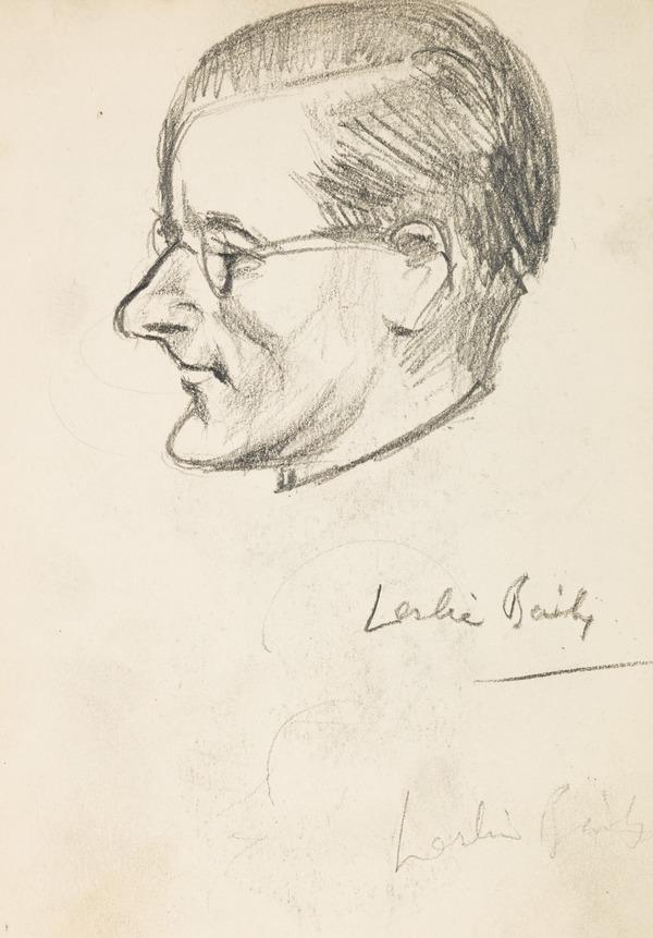 """Profile sketch of a man's head, inscribed """"Leslie Baily"""" (Executed early / mid 1930s)"""