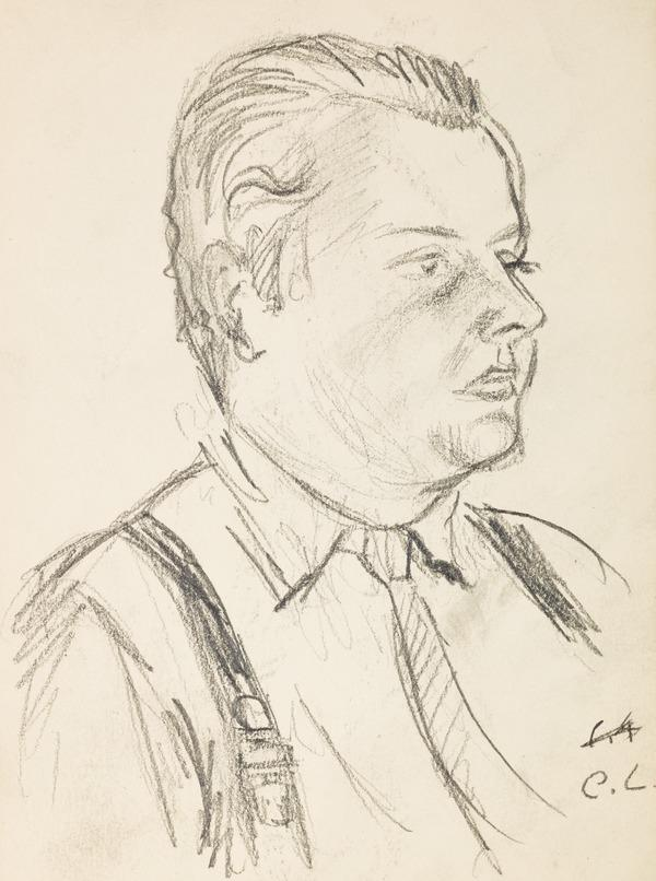 """Profile portrait of a man, inscribed """"C L"""" (Executed early / mid 1930s)"""