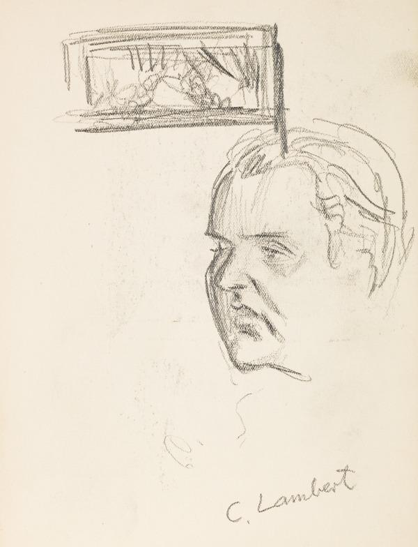 """Sketch of a man's head, inscribed """"C. Lambert"""" (?) (Executed early / mid 1930s)"""