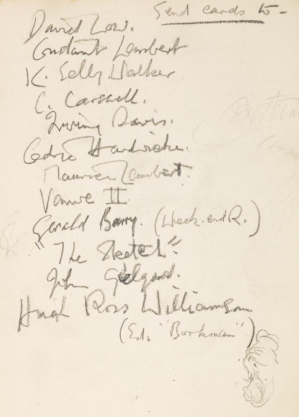 """Handwritten list of names, inscribed """"send cards to"""" (Executed early / mid 1930s)"""