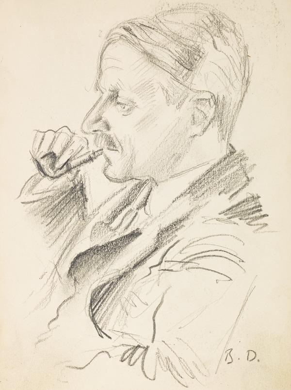 """Portrait of a man smoking a pipe, inscribed """"B. D."""" (Executed early / mid 1930s)"""