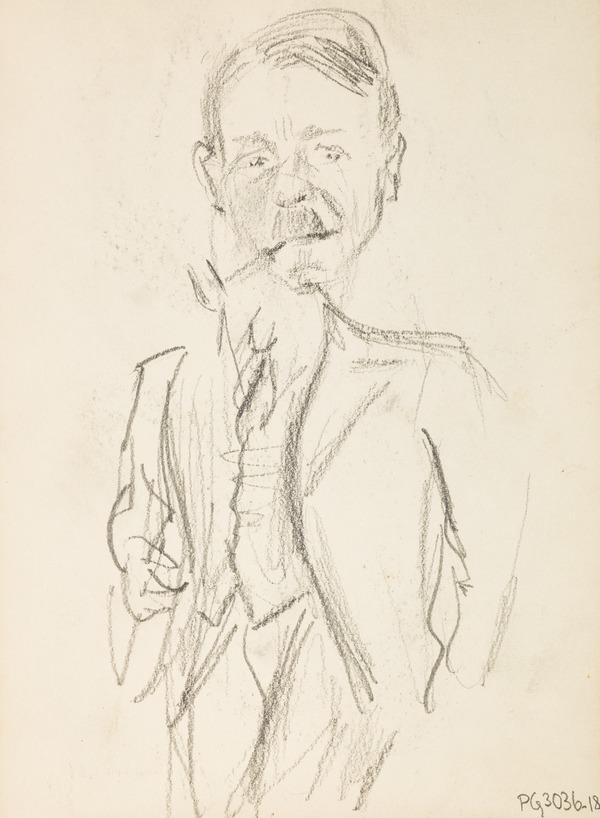 Man smoking a pipe (Executed early / mid 1930s)