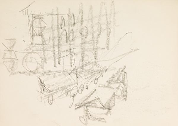 Sketch of market stalls (Executed early / mid 1930s)