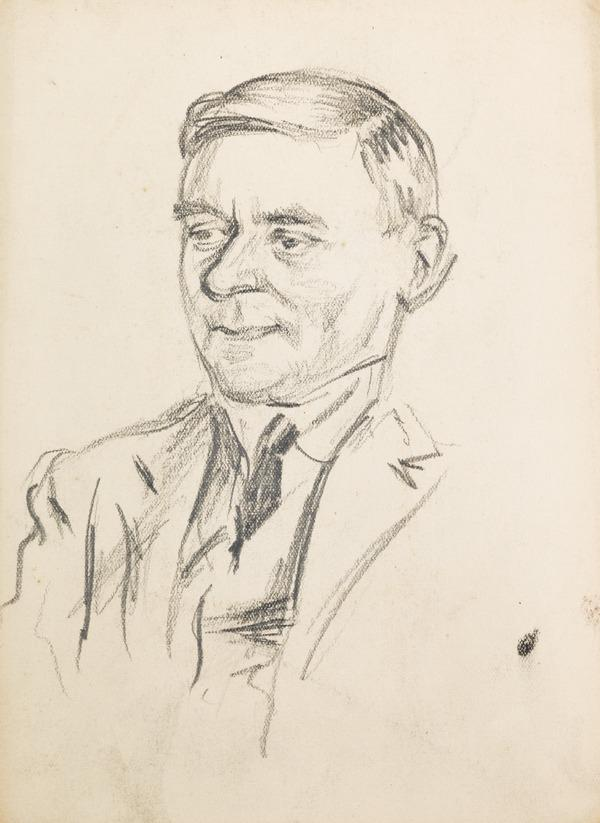 Portrait of unknown man wearing a suit and tie (3/4) (Executed early / mid 1930s)