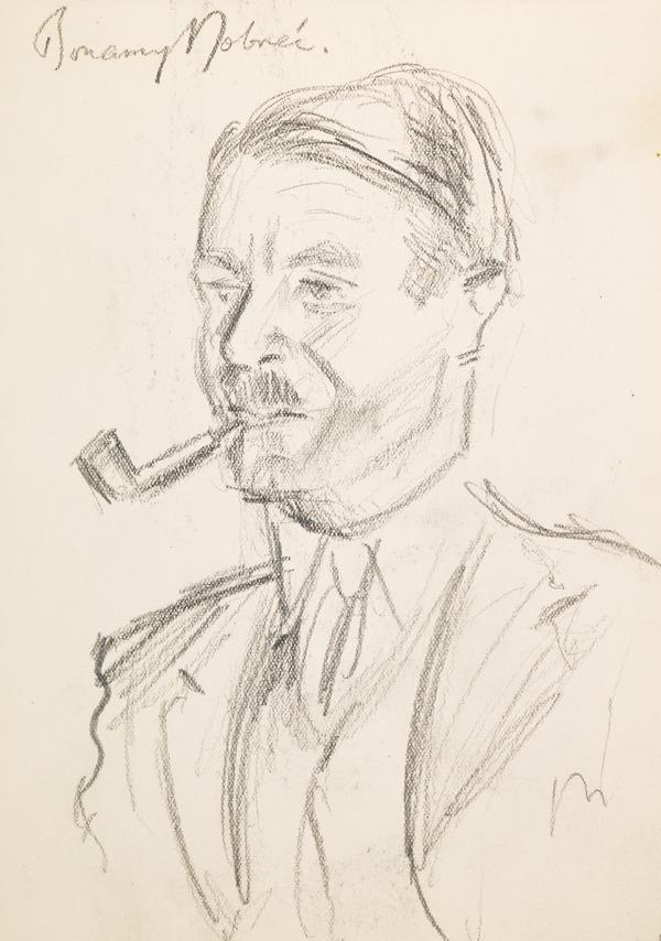 """Man smoking a pipe (3/4), inscribed """"Bonamy Dobree"""" (?) (Executed early / mid 1930s)"""