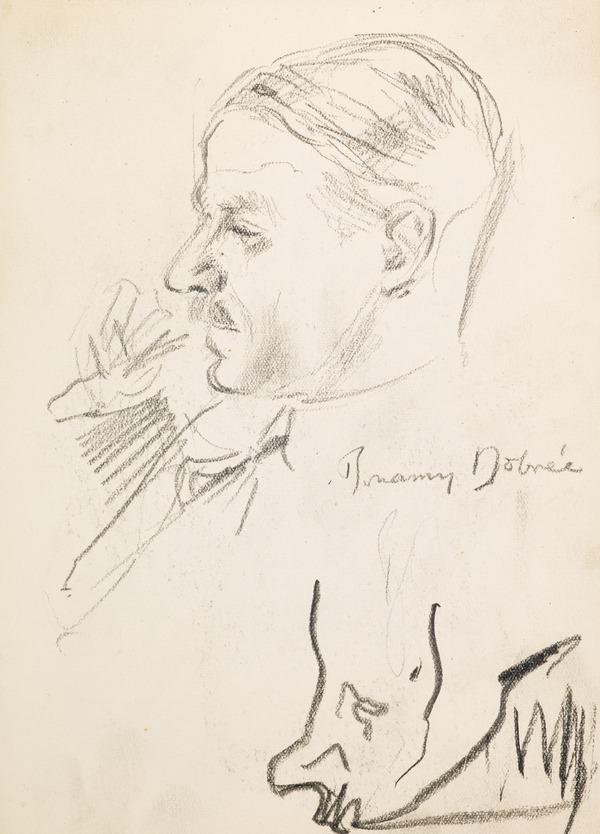 """Profile portrait of a man smoking a pipe, inscribed """"B Dobree"""" (?) (Executed early / mid 1930s)"""