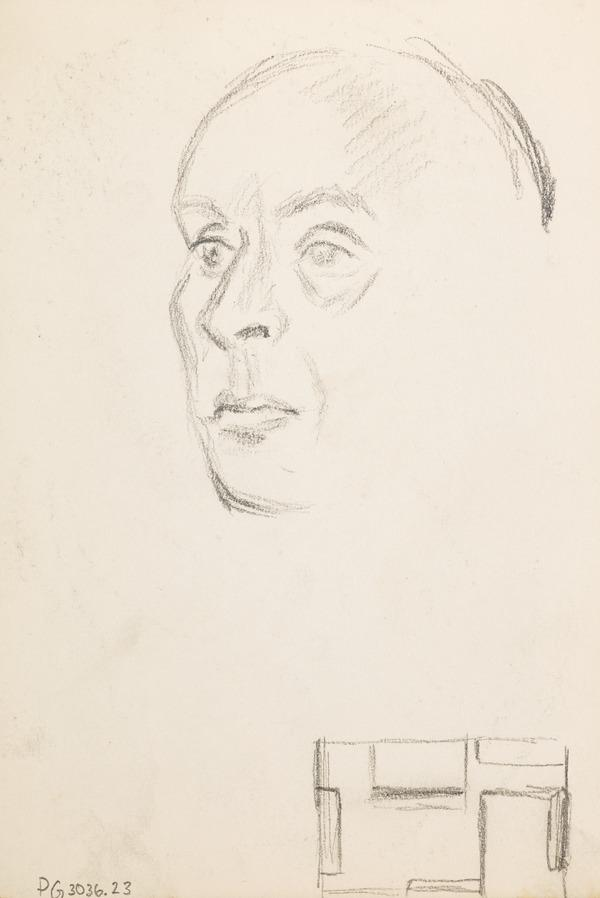 Sketch of a head and layout of a room on bottom right (Executed early / mid 1930s)