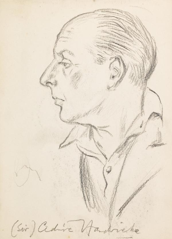 """Profile portrait of a man, inscribed """"Sir Cedrick Hardwicke"""" (?) (Executed early / mid 1930s)"""