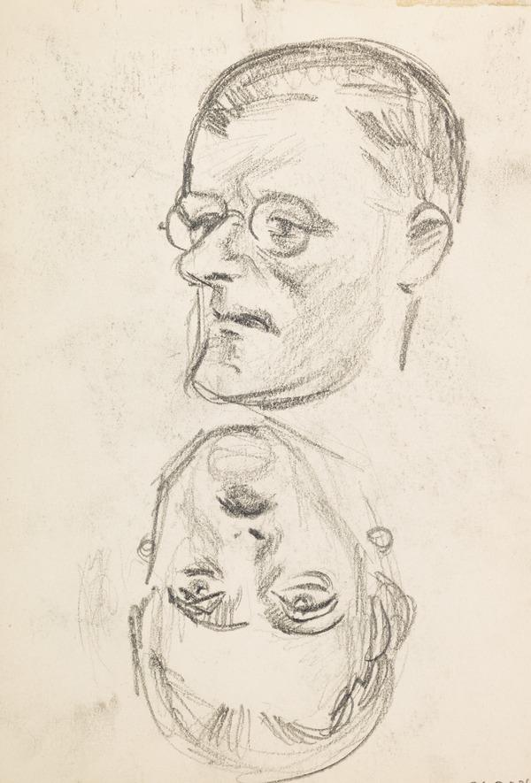 Sketch of one female and one male head (Executed early / mid 1930s)