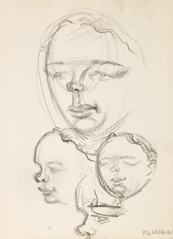 Four preparatory sketches of heads (Executed early / mid 1930s)